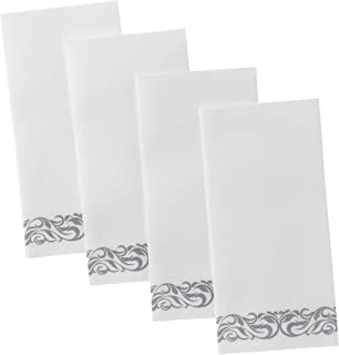 Superior Quality Decorative Linen-Feel Hand Towels By Bloomingoods – Silver Floral Disposable Paper Towels For Guests – Pack Of 100 – Ideal Size Of 12x17 Inches Unfolded And 8.5x4 Inches Folded