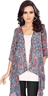 Serein Women's Shrug (Blue Floral Print Chiffon Shrug/Jacket with 3/4th Sleeve)