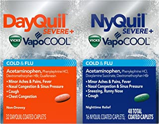 DayQuil and NyQuil SEVERE with Vicks VapoCOOL Cough, Cold & Flu Relief, Caplets, 48 Count (32 DayQuil & 16 NyQuil) - Relieves Sore Throat, Fever, and Congestion, Day or Night (Packaging May Vary)