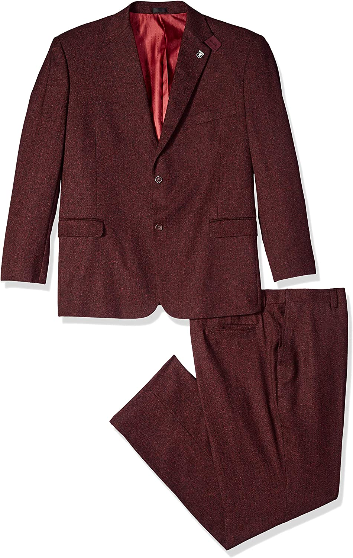 STACY NEW ADAMS Men's 3-Piece Be super welcome Notch Suit Lapel Boucle Vested