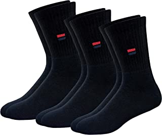 NAVYSPORT Men's Solid Cotton Cushion Comfort Crew Socks, Pack of 3 (Free Size)