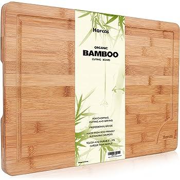 Tagliere in Bambù Biologico Premium by Harcas. Tagliere dalle misure Extra Large 45cm x 30cm x 2cm. Il Migliore per Tagliare Carne, Verdure e Formaggio. Livello Professionale per Resistenza e Durata