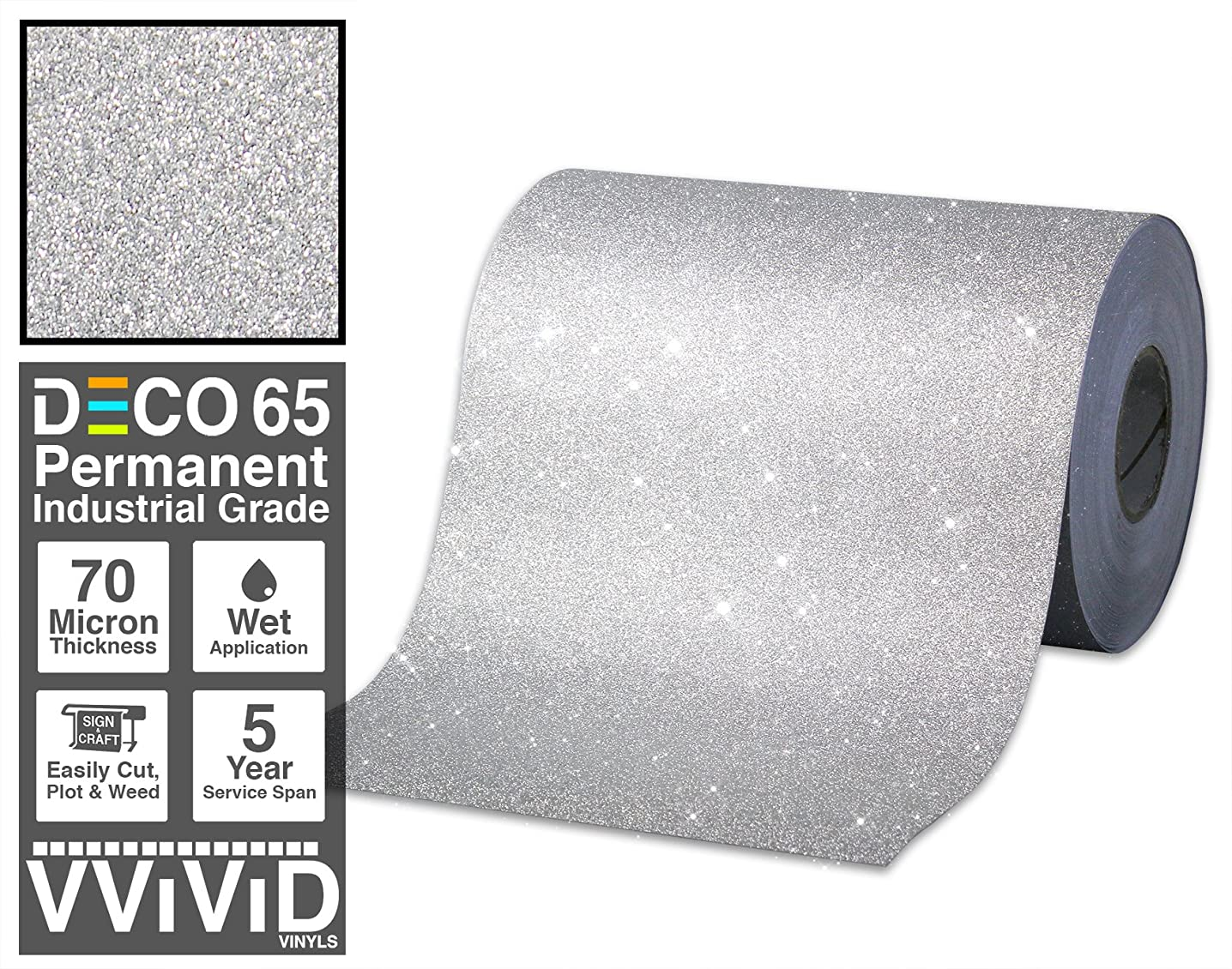 VViViD Glitter Silver DECO65 Permanent Adhesive Craft Vinyl Roll for Cricut, Silhouette & Cameo (100ft x 1ft)