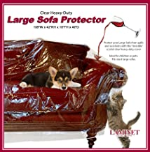 LAMINET Thick Crystal Clear Heavy-Duty Water Resistant Sofa/Couch Cover - Perfect for Protection Against CAT/Dog Clawing, Kids and Grandkids!!! - Large Sofa - 42