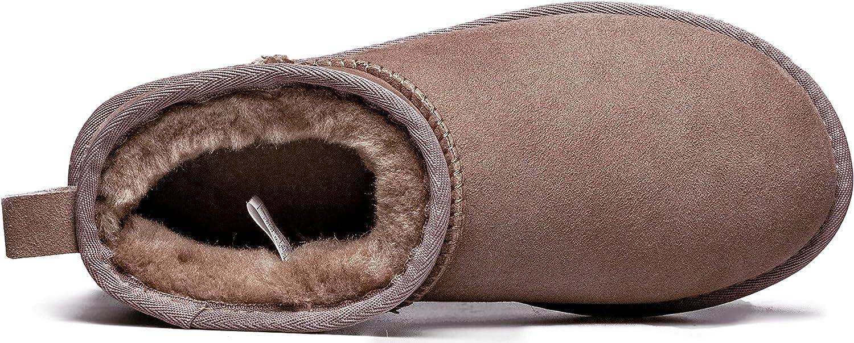 AUMU Women's Classic Short Sheepskin Warm Snow Boot Ankle Boot