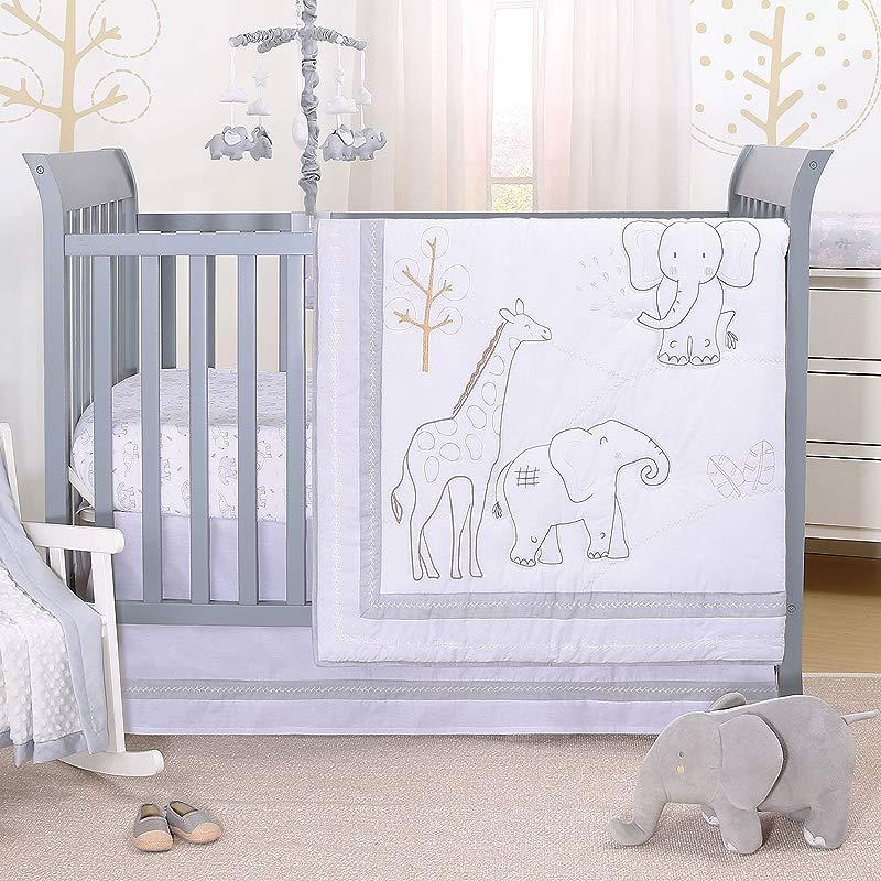Tons Of Love Jungle Animal 3 Piece Baby Crib Bedding Set Elephants Giraffe