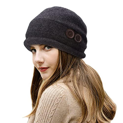 24d2f256ec5 Lawliet Ladies Vintage Elegant Wool Cloche Hat Winter Warm Berets