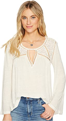 Lace Mix Peasant Top