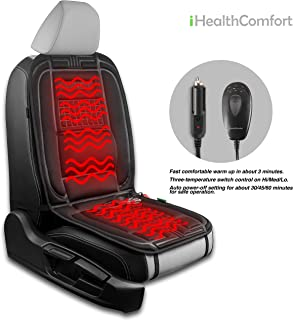 iHealthComfort. 12V Car Heated Seat Cushion Cover Pad (Black)