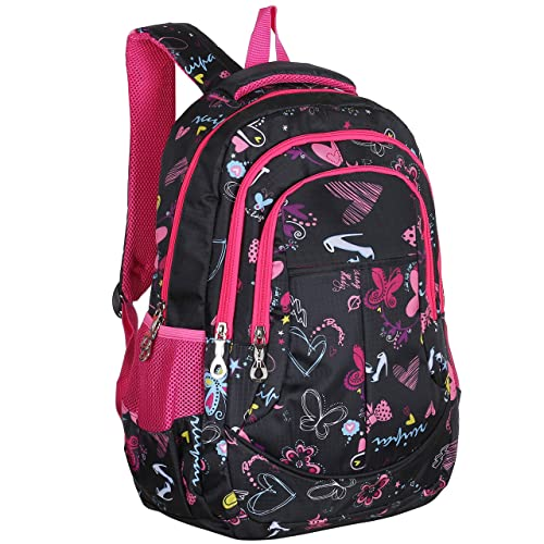 MGgear 19-Inch Girls  School Book Backpack w Hearts   Butterflies Print a9c01b3e9f06b