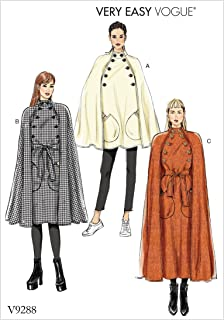 Vogue V9288 Easy to Sew Women's Collared Cape with Belt Sewing Pattern, Sizes XS-M