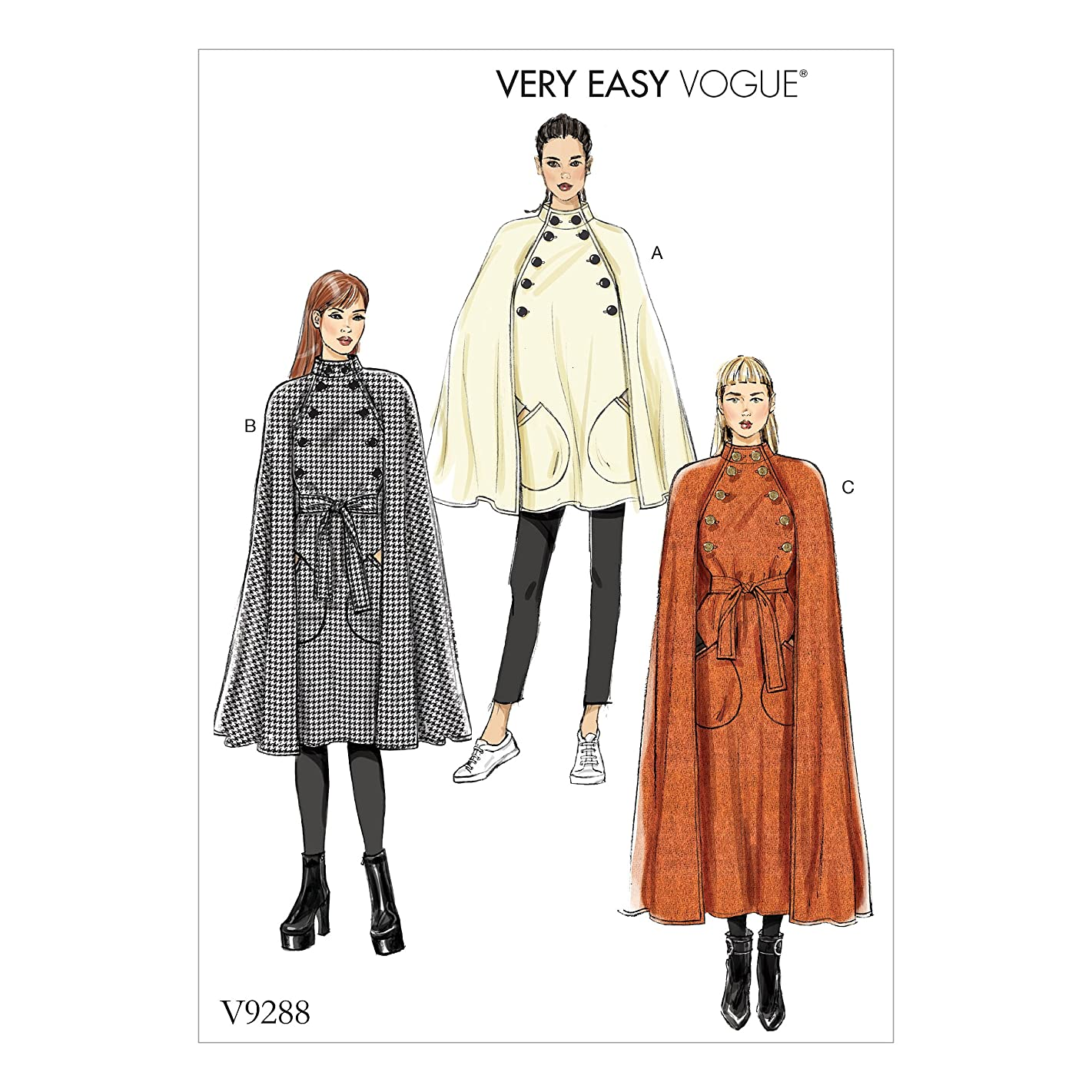 Vogue V9288 Easy to Sew Women's Collared Cape with Belt Sewing Pattern, Sizes L-XXL