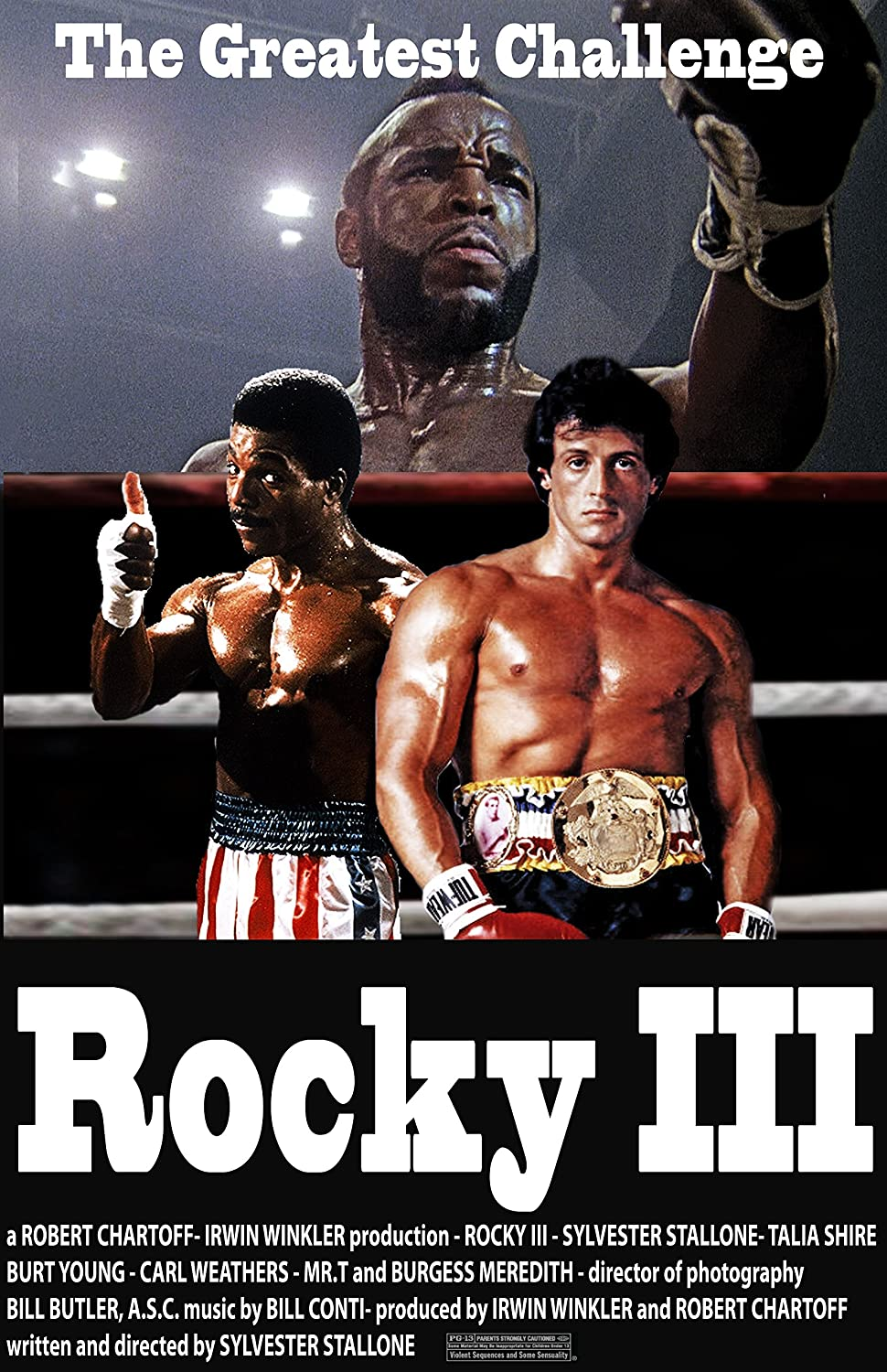 Rocky 3 Sylvester Stallone Movie Poster Reproduction ver2 Canvas Picture Art Print Premium Quality A0 A1 A2 A3 A4 (A0 Canvas (30 40))