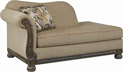 Benjara Fabric Upholstered Left Arm Facing Chaise with Carvings on Frame, Beige