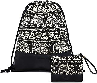 Leapop Turnbeutel Hipster Segeltuch Sporttaschen, Elefant Geometrisches Muster Gym Sack Beutel Sportbeutel Tüte Rucksack mit Innentasche und Schlüsselbund, Münzbörsen