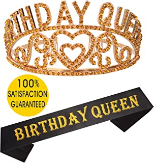 Birthday Girl Sash and Tiara Gold   Birthday Queen Sash and Crown   Happy Birthday Party Supplies  Favors, Decorations 13th, 16th, 21st, 30th, 40th, 50th, 60th, 70th, 80th, 90th Birthday Gold