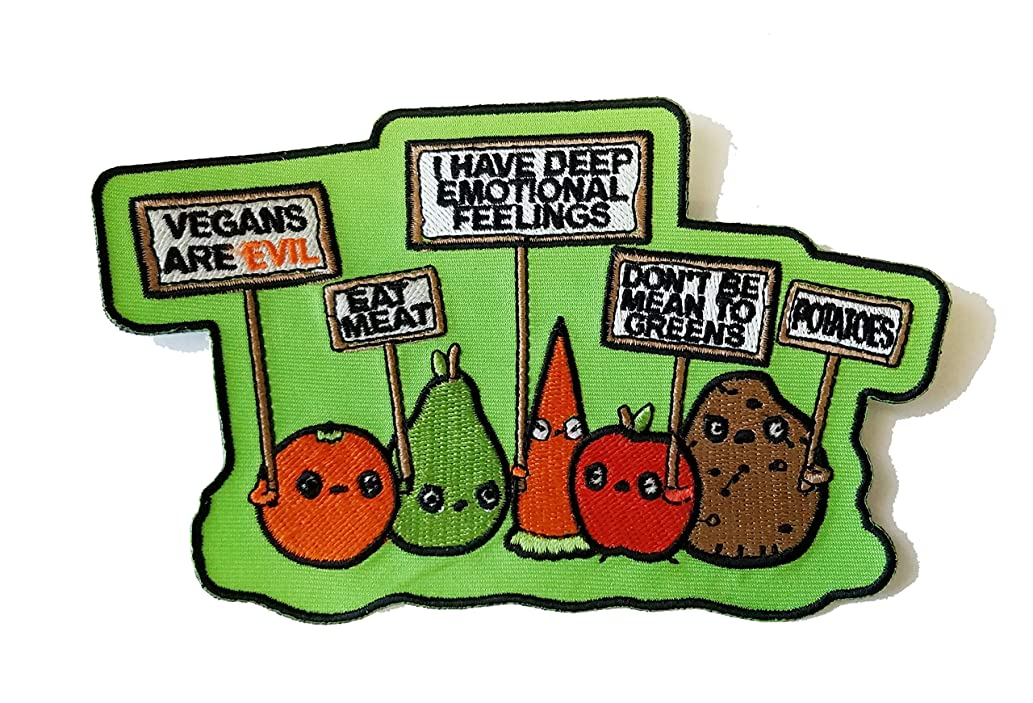 Funny Vegetables w/Protest Signs Against Vegans - Novelty Iron On Patch Applique