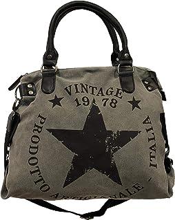 Star Bag Vintage Stern Damen Stamp Tasche Fashion Shopper Henkeltasche Canvas Stoff