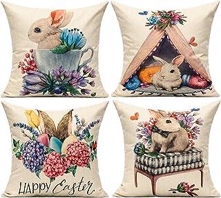 أغطية وسائد عيد الفصح من All Smiles بتصميم أرنب مع بيض من قماش للديكورات، مجموعة من 4 أغطية وسائد للسرير من الكتان لديكور ...