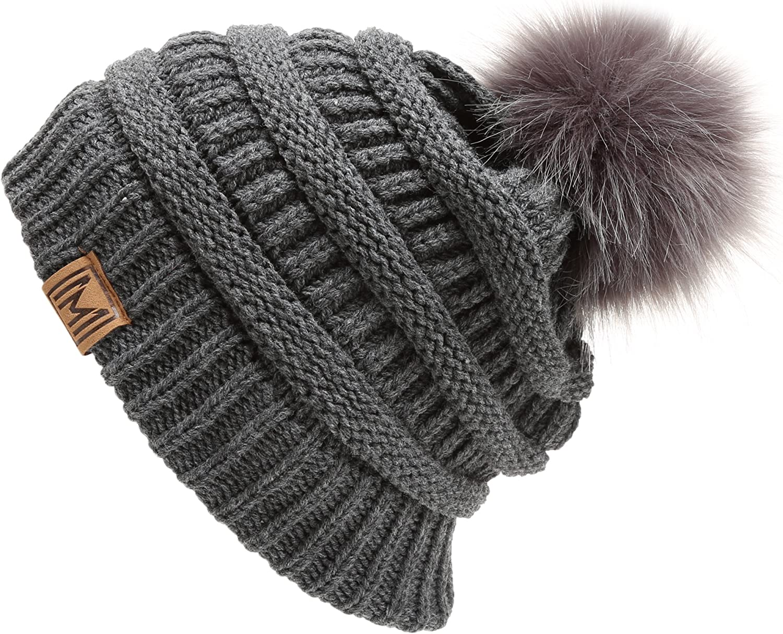 Superior MIRMARU Women's Soft Stretch lowest price Cable Knit Faux Warm Skully Fur Pom