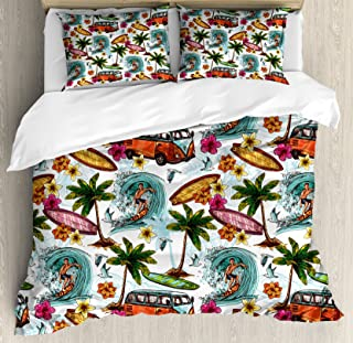 Ambesonne Ocean Duvet Cover Set, Hawaiian Surfer on Wavy Deep Sea Retro Style Palm Trees Flowers Surf Boards Print, Decorative 3 Piece Bedding Set with 2 Pillow Shams, King Size, Teal White
