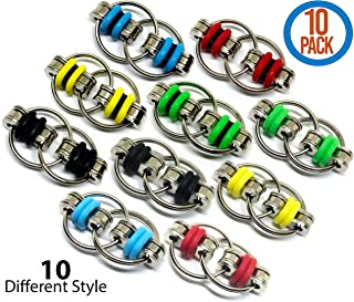 Fidget Toy Flippy Chain - Stress Relief Perfect for ADHD, ADD, Anxiety in Classroom, Office, School, Work for Students, Kids or Adults Stocking Stuffers Gifts for Children Bulk (10 Style Pack)