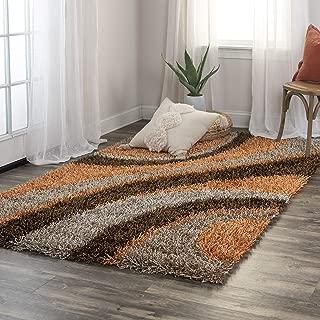 Rizzy Home Kempton Collection Polyester Area Rug, 5' x 7', Multi/Orange/Brown/Khaki Stripe