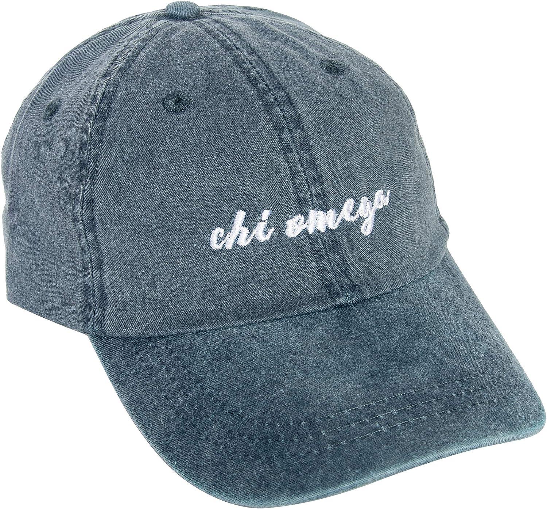 Chi Omega N Ranking TOP12 Sorority Baseball Hat Name Font Superior Cap chi Cursive o