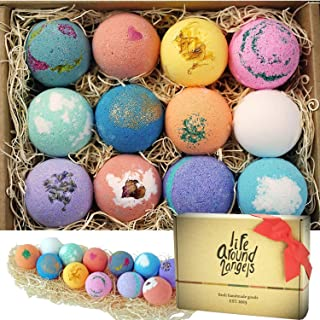 LifeAround2Angels Bath Bombs Gift Set 12 USA made Fizzies, Shea & Coco Butter Dry Skin Moisturize, Perfect for Bubble & Sp...