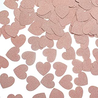 MOWO Glitter Heart Paper Confetti for Table Wedding Birthday Party Decoration, 1.2 inch in Diameter (Rose Gold Glitter,200pc)