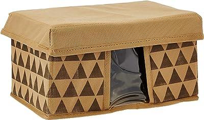 Amazon Brand - Solimo Printed Fabric Rectangular Storage Box, Medium, Set of 6, Brown