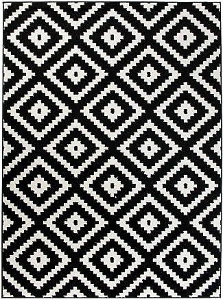 Carpeto Rugs Tapis Salon Blanc Et Noir 140 X 190 Cm Moderne  Geometrique/Furuvik Collection