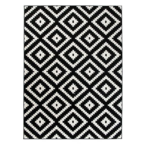 Grand   XL  Tapis De Salon Chambre   Noir Blanc   Motif Oriental Avec Un