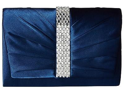 Jessica McClintock Katie Satin Flap (Navy) Handbags