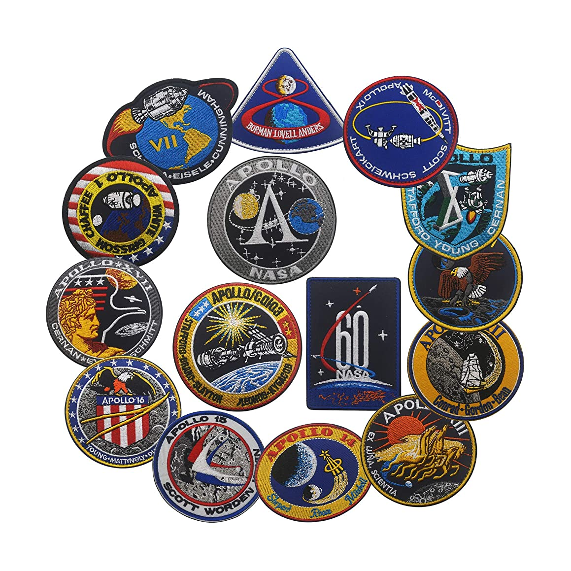 NASA Apollo1,7,8,9,10,11,12,13,14,15,16,17, Space Embroidered Patches,60th Anniversary Logo, DIY Embroidered Patch Costume Applique Badge Set