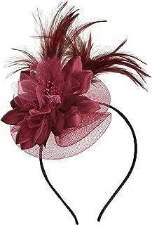 Fascinators Headband for Women Tea Party Hat Kentucky Derby Wedding Flower Mesh Feathers Hair Clip