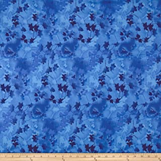 Fabri-Quilt Ivy Vine 118in Wide Back Leaves Blue Fabric by The Yard
