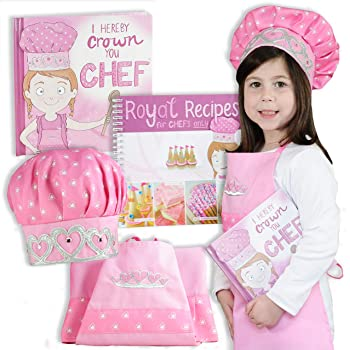 Tickle & Main - Princess Chef Gift Set - Includes Book, Apron, Hat, and Royal Recipes Cookbook for Little Girls Age 3 4 5 6 7 Years - Kids Learn Basic Cooking and Baking - I Hereby Crown You Chef!