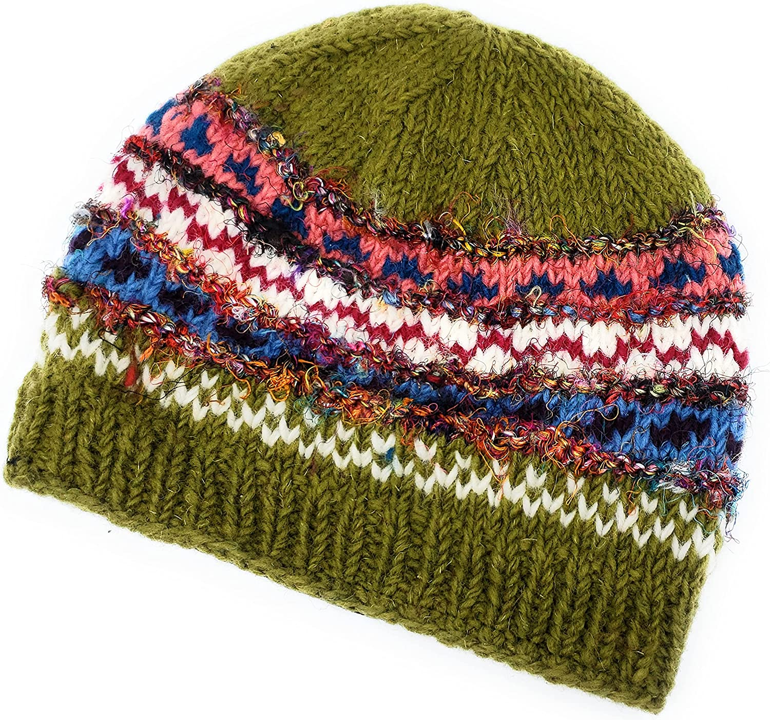 Hand Knit Wool and Recycled Silk Beanie Hat Fleece Lined Made in Nepal