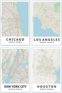 Spitzy's Map Posters, 11x17 Inches, Set of 4, Modern Wall Art, Major Cities of The United States, Chicago, Los Angeles, New York City, Houston, Modern Wall Decor for Home Office, Bedroom, Living Room