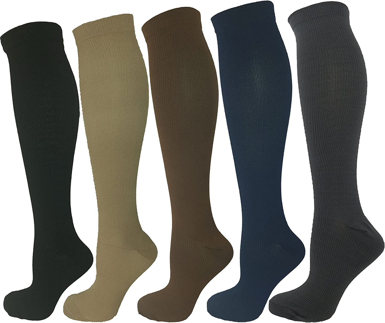 Ladies Compression Socks, Moderate Compression 1520 mmHg.Therapeutic, Occupational, Travel & Flight KneeHigh Socks.5 Pair Assorted colorsBlack, Brown, Grey, Tan and Navy blueee, Large Extra Large