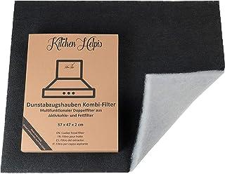 Kitchen Helpis® Filtros de Campana Extractoras combinados – Filtros Dobles de Carbón activo y Grasa 57x47 cm, Filtro se puede cortar a medida, Universales para todas las Campanas Extractoras estándar