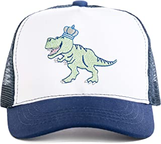 Little Crowns NYC Children's Cotton Trucker Sun Hat w/Embroidered Dinosaur