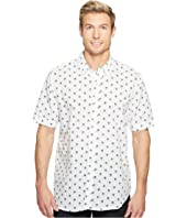True Grit - Paradise Palm Short Sleeve Cotton and Linen Shirt w/ Stitch Details