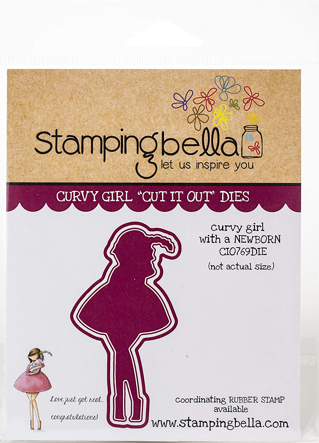 Stamping Bella CIO769 Cut It Out Dies-Curvy Girl with A Newborn