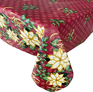 WIPE CLEAN PLASTIC PLAIN GOLD RED BAUBLES CHRISTMAS PVC VINYL TABLE CLOTH COVER