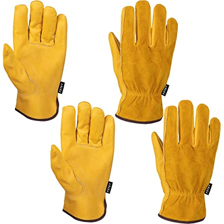 FZTEY 2 Pairs Breathable Heavy duty Gardening Gloves Ladies, Flexible Garden Safety Work Protective Leather Gauntlets for Men & Women Birthday & Christmas Gifts 9(Large, Yellow)