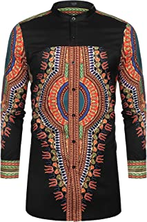 Men's African Dashiki Print Shirt Long Sleeve Button Down Shirt Bright Color Tribal Top Shirt