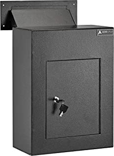 AdirOffice Through The Wall Drop Box Safe (Black/Grey/White) - Durable Thick Steel w/Adjustable Chute - Mail Vault for Home Office Hotel Apartment (Black)