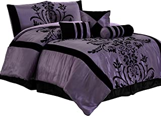 Chezmoi Collection Nobility-Com 7-Piece Black Violet Flocked Floral Faux Silk Bedding Comforter Set (Queen)